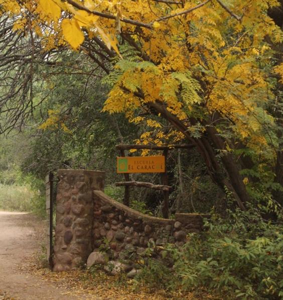 La entrada de la escuela El Caracol en otoño